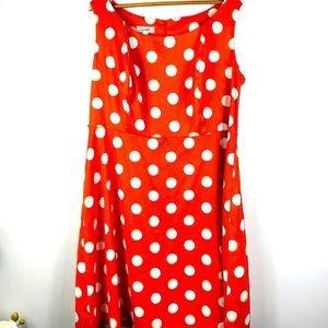 Dress Barn Orange White Polka Dot Casual Dress 18